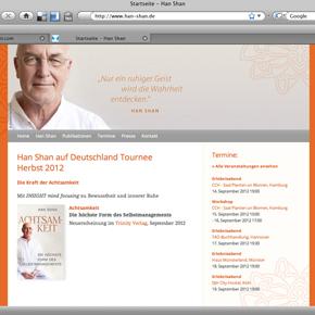 Webseite für die Han Shan Tour 2012