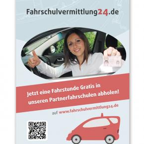 Werbeplakat für Fahrschulvermittlung24.de