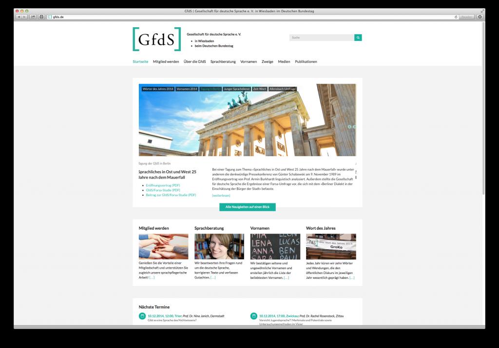 Startseite der Gesellschaft der deutschen Sprache