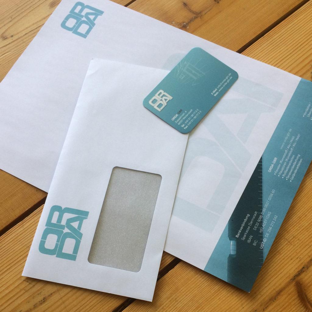 orda briefpapier breifumschlag visitenkarte corparate-identity fontfront rossdorf druck herstellung