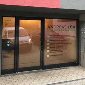 Andreas loeb steuerberater fontfront rossdorf beschriftung glasdekor sichtschutz